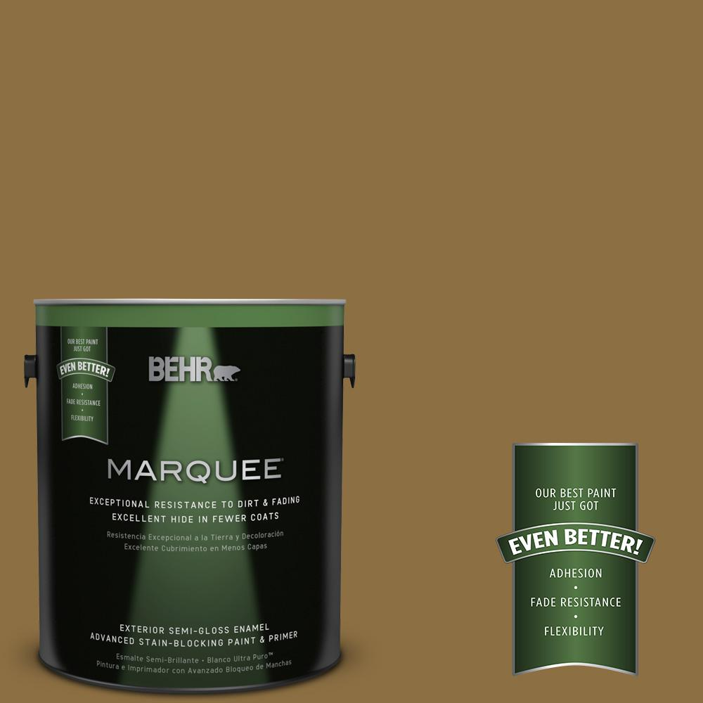 BEHR MARQUEE 1-gal. #330F-7 Nutty Brown Semi-Gloss Enamel Exterior Paint-545301