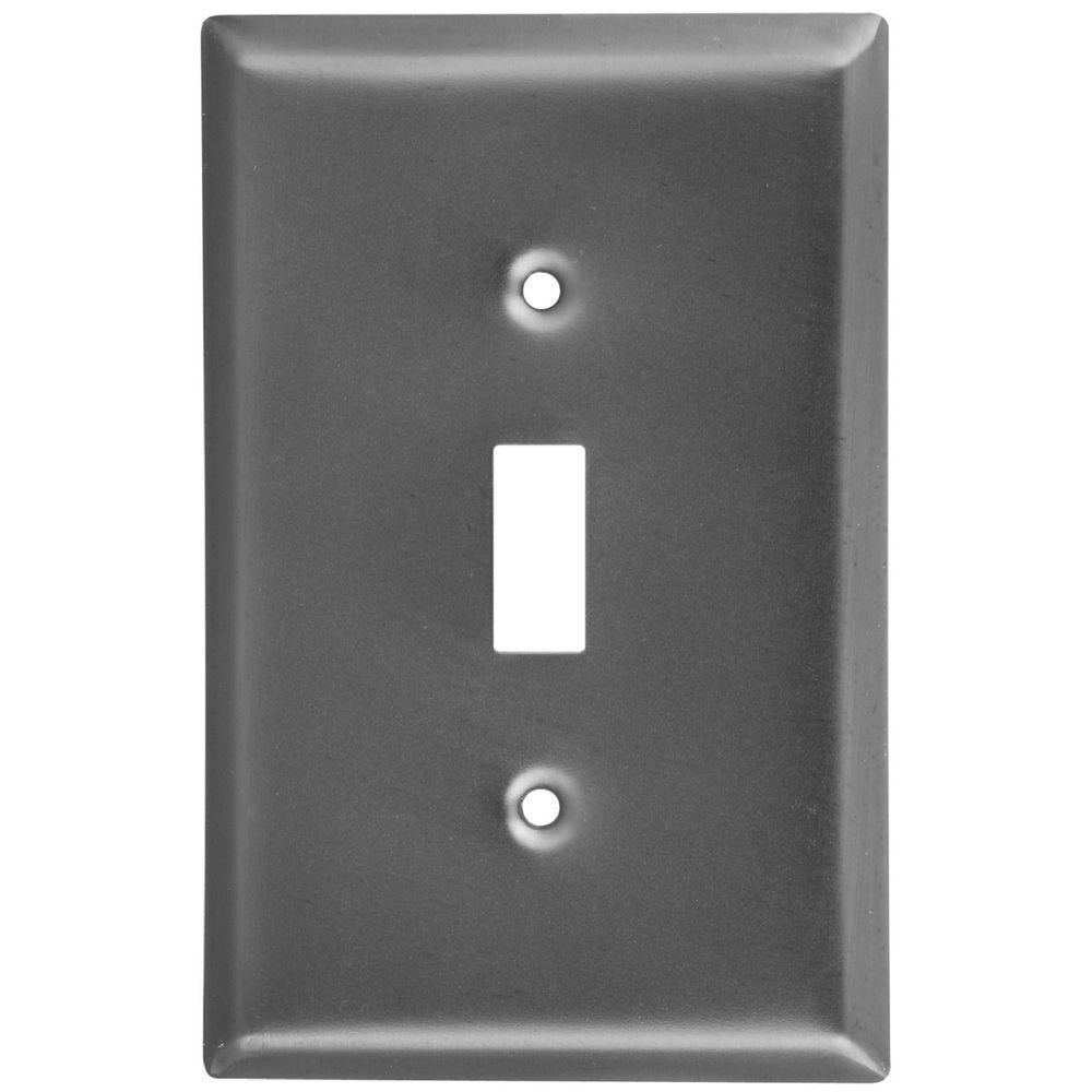Stanley-National Hardware 1 Gang Switch Wall Plate - Antique Pewter-DISCONTINUED
