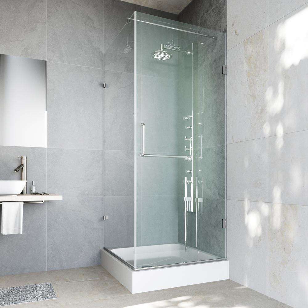 Pacifica 48.125 in. x 79.25 in. Frameless Pivot Shower Enclosure in