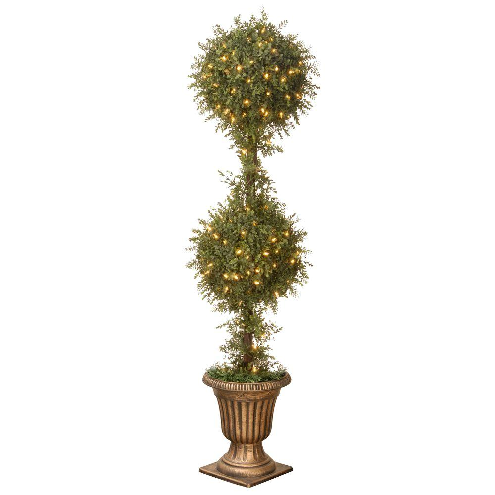60 in. Mini Tea Leaf Topiary in Urn with 200 Clear Lights