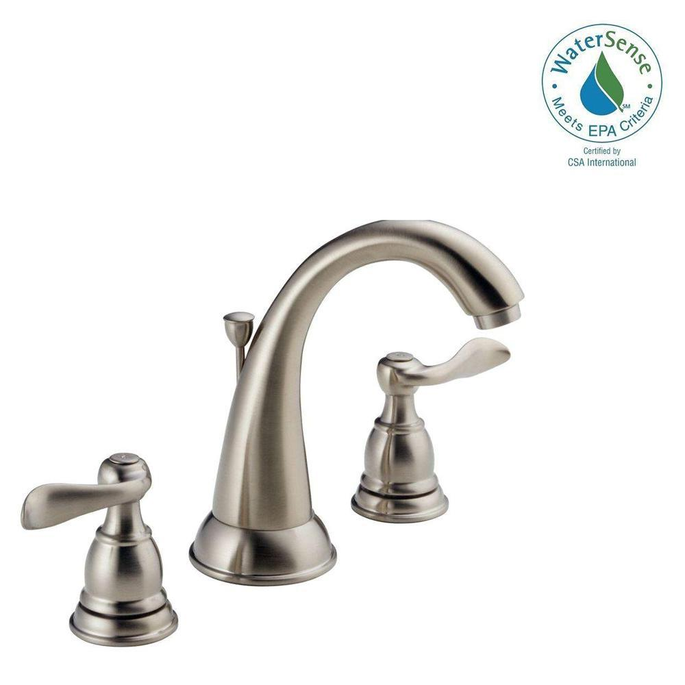 Delta Windemere 8 In Widespread 2 Handle Bathroom Faucet With Metal Drain Assembly In Stainless