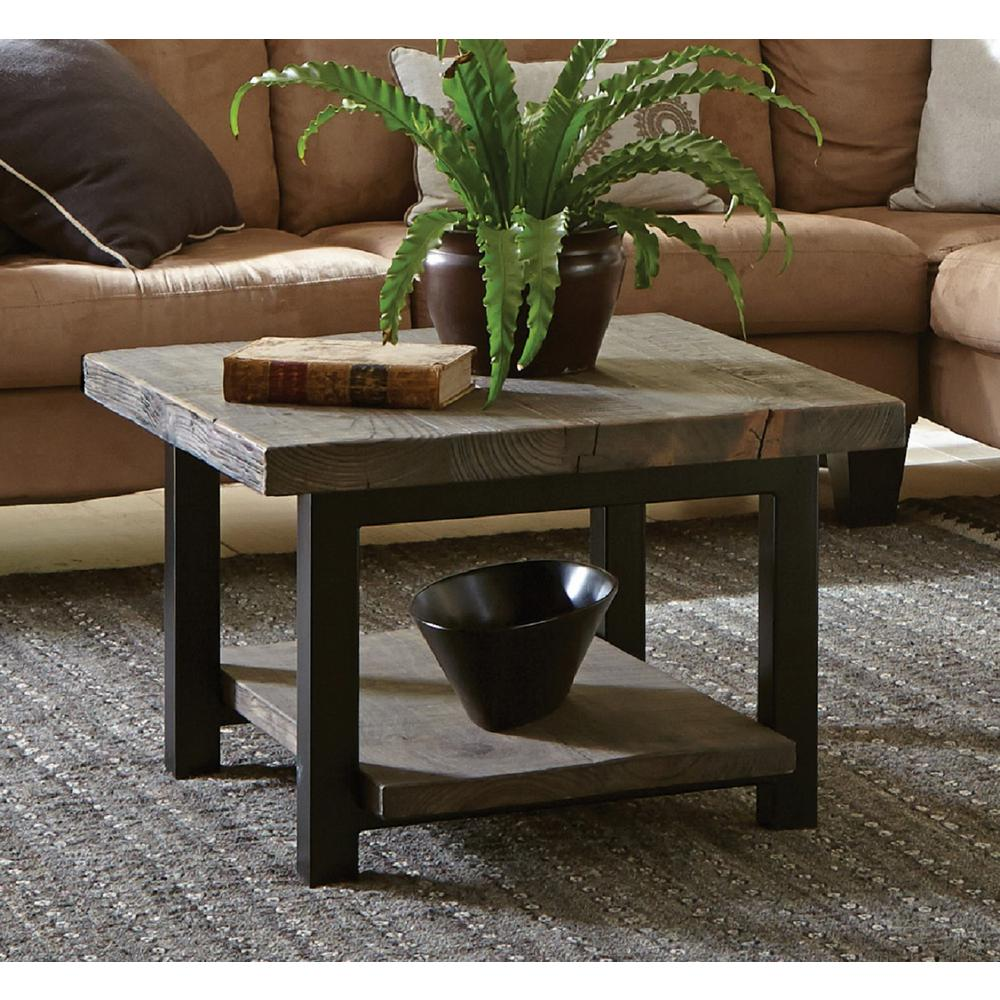 Alaterre Furniture Pomona 27 in. Cube Metal and Wood Rustic Natural