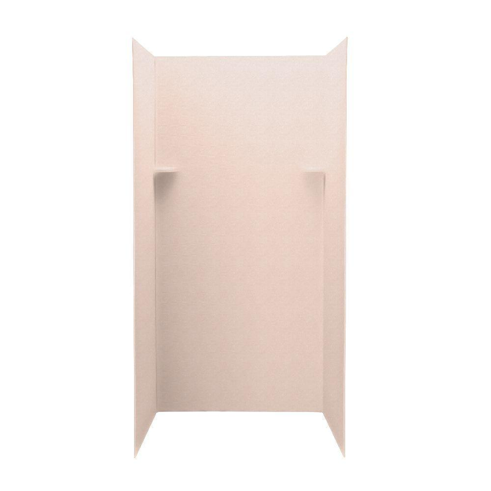 Swan Barcelona 36 in. x 36 in. x 72 in. Three Piece Easy Up Adhesive Shower Wall Kit in Tahiti Rose-DISCONTINUED
