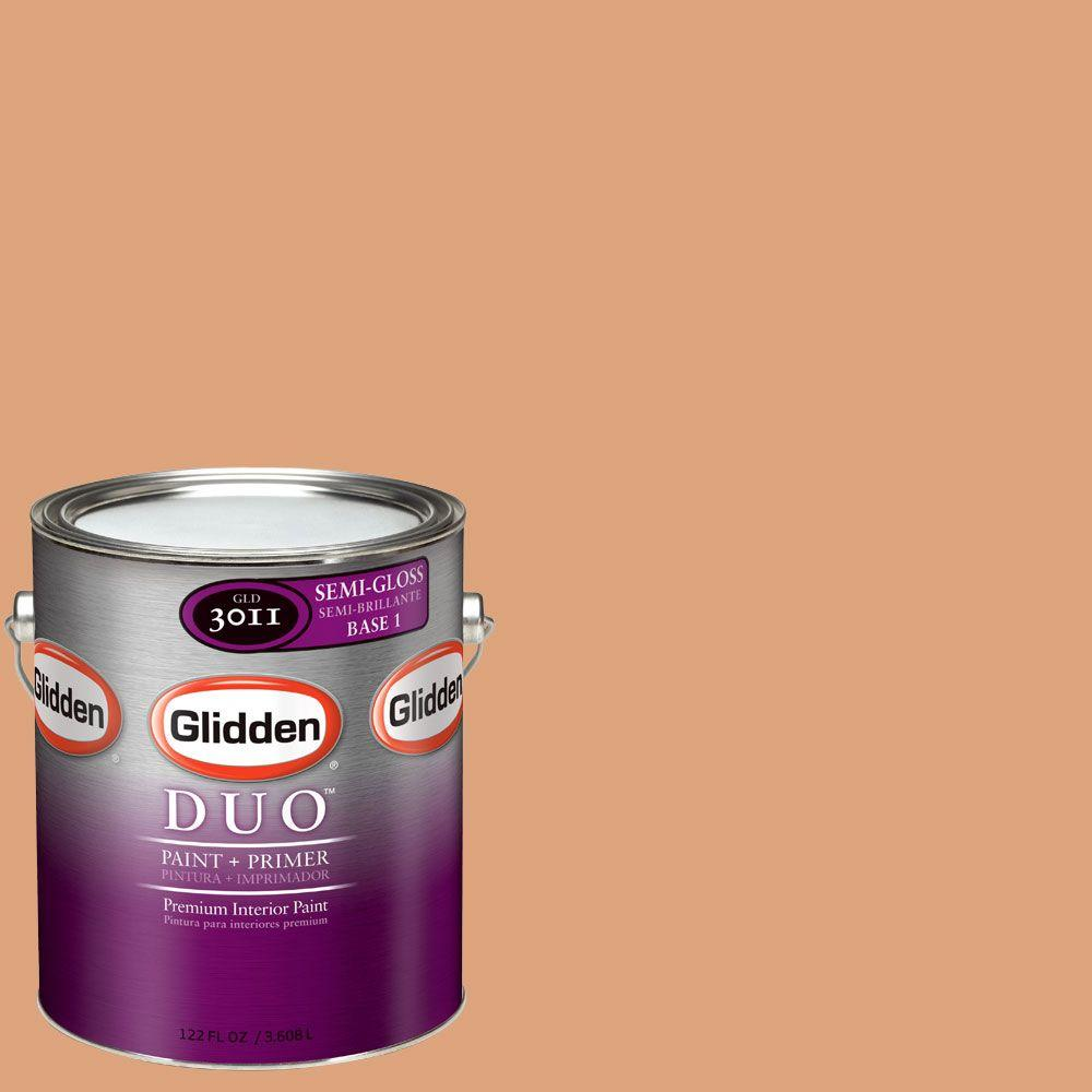 Glidden DUO 1-gal. #GLO24 Toasted Coconut Semi-Gloss Interior Paint with Primer