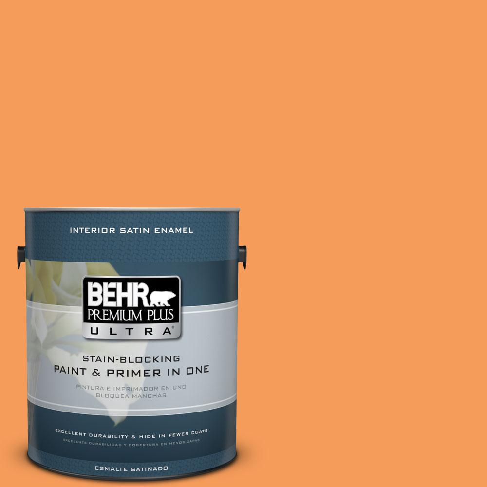 BEHR Premium Plus Ultra 1-gal. #P220-6 Bergamot Orange Satin Enamel Interior Paint