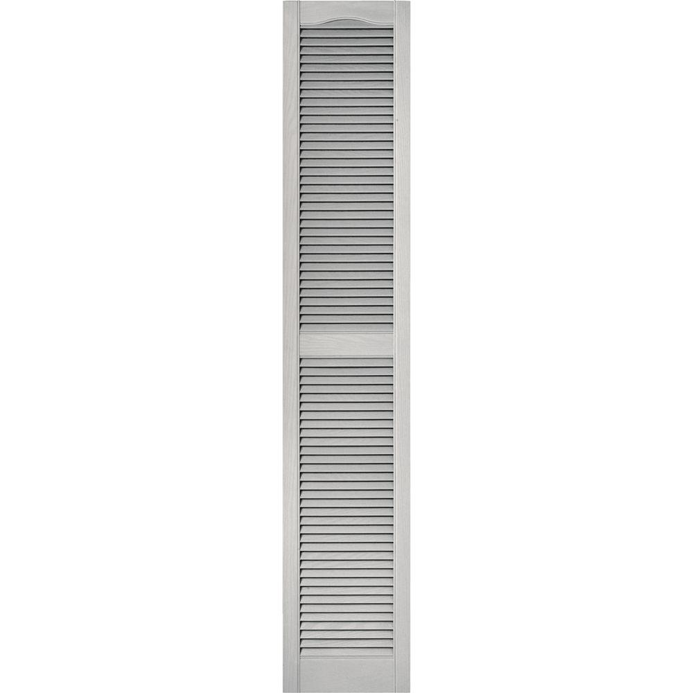 15 in. x 80 in. Louvered Vinyl Exterior Shutters Pair #030