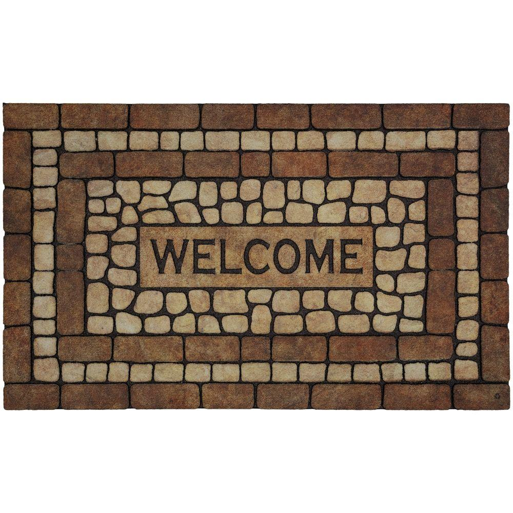 Mohawk home stone garden welcome brown 1 ft 6 in x 2 ft for Welcome home front door mats