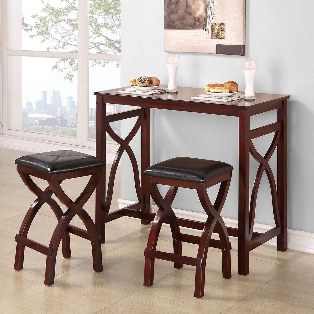 HomeSullivan Cecile 24 in. Stool with Bar Table in Cherry (Set of 3)
