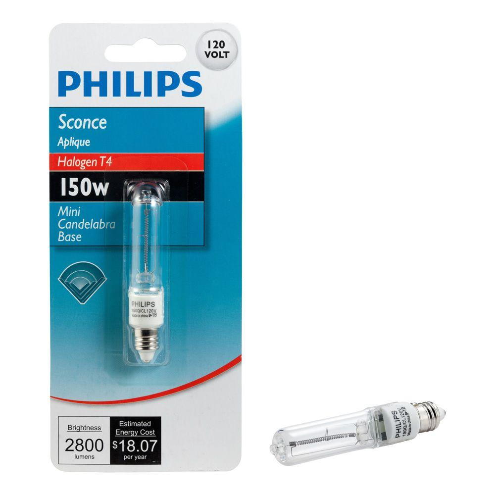 Philips 150-Watt Halogen T4 Mini-Candelabra Base Sconce Decorative Dimmable Light Bulb