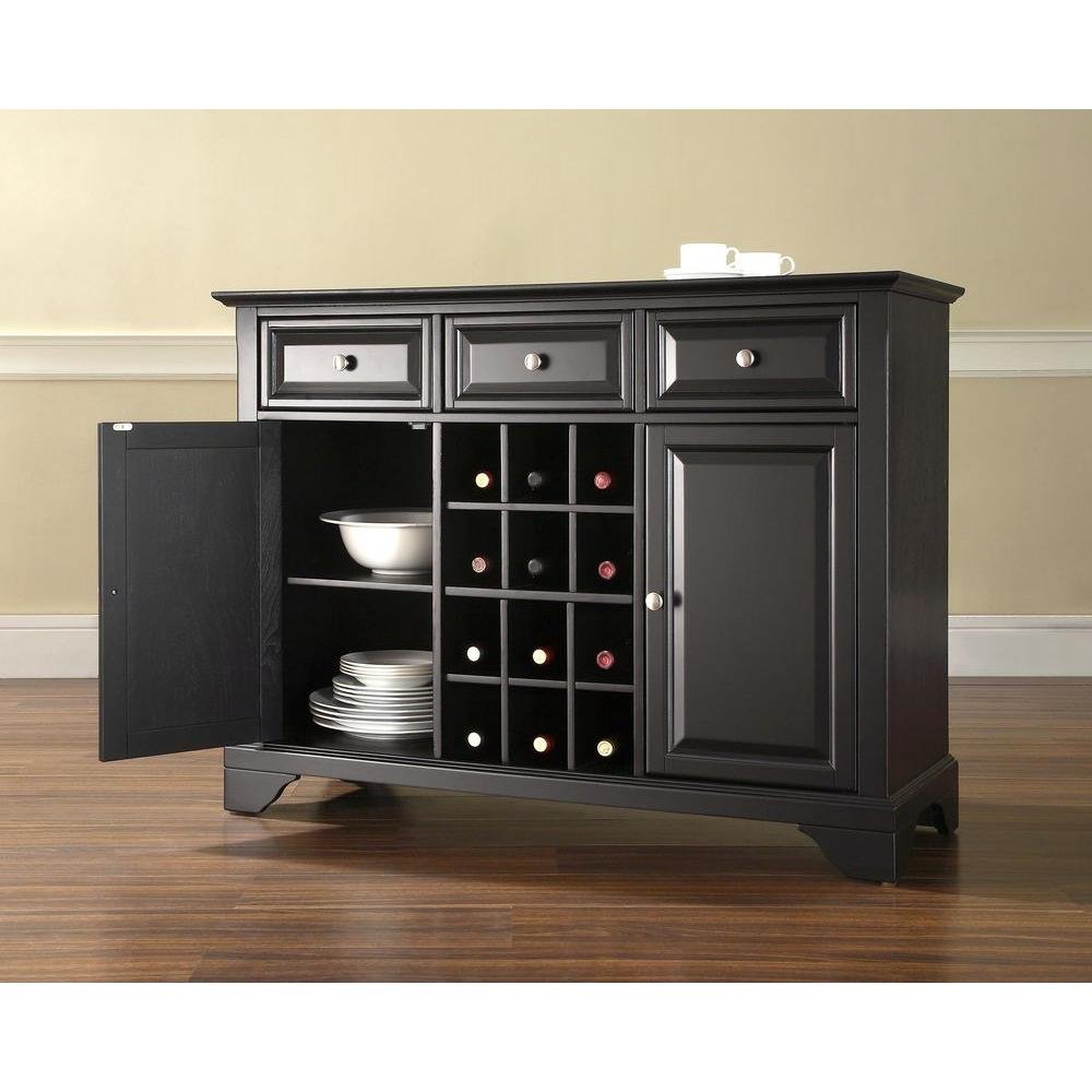 Crosley LaFayette Black Buffet Server and Sideboard Cabinet with Wine