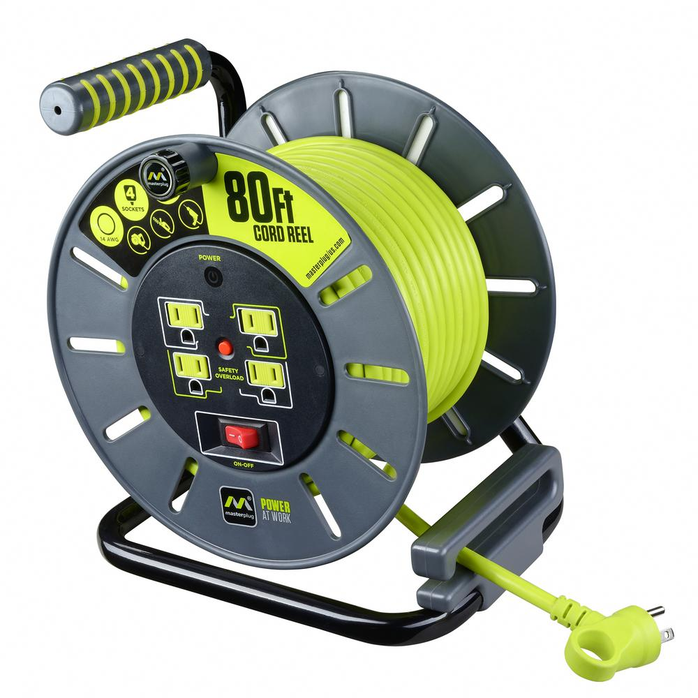 80 ft. 14/3 Large Open Cord Reel with 4-Outlets