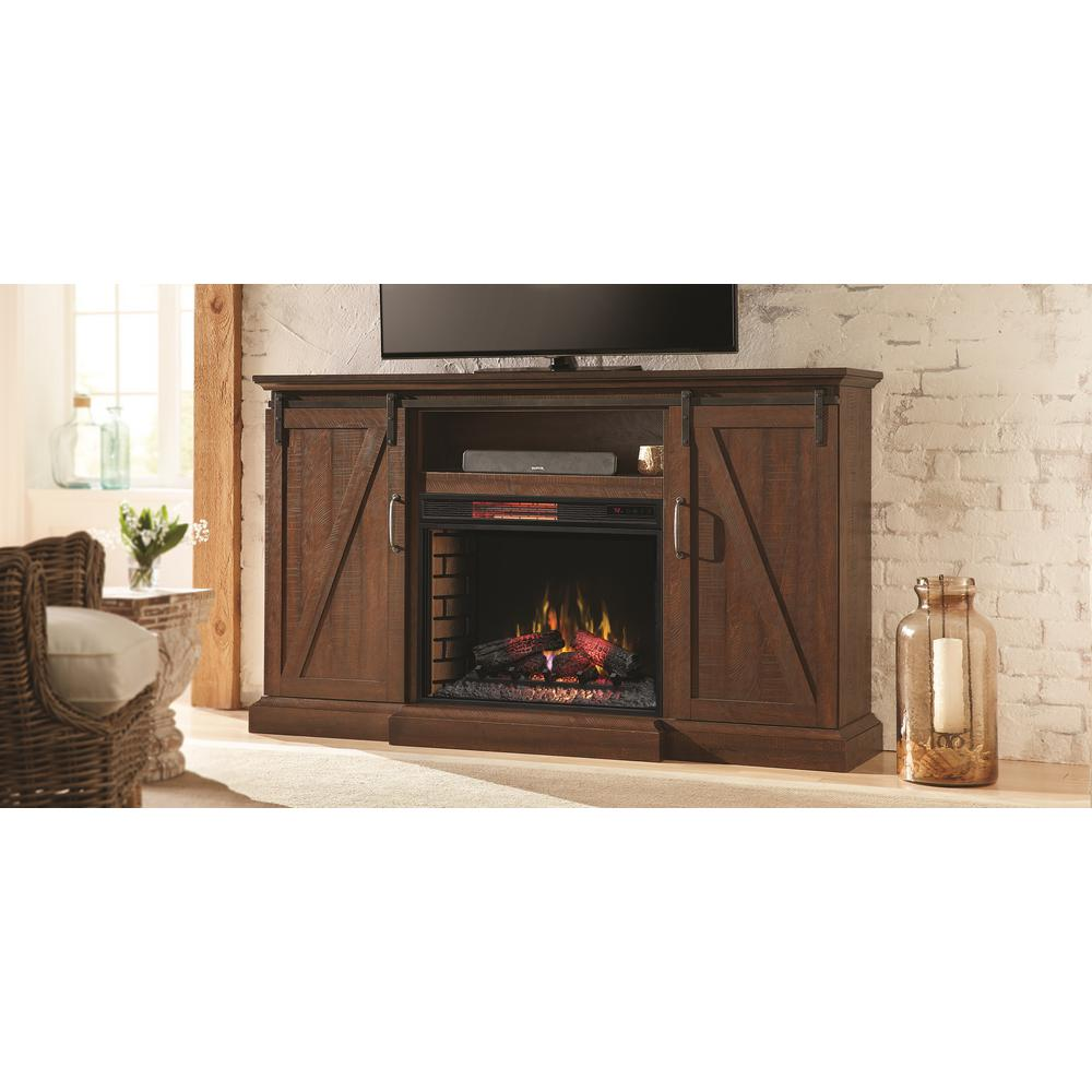 Home Decorators Collection Chestnut Hill 68 In Tv Stand Electric Fireplace With Sliding Barn