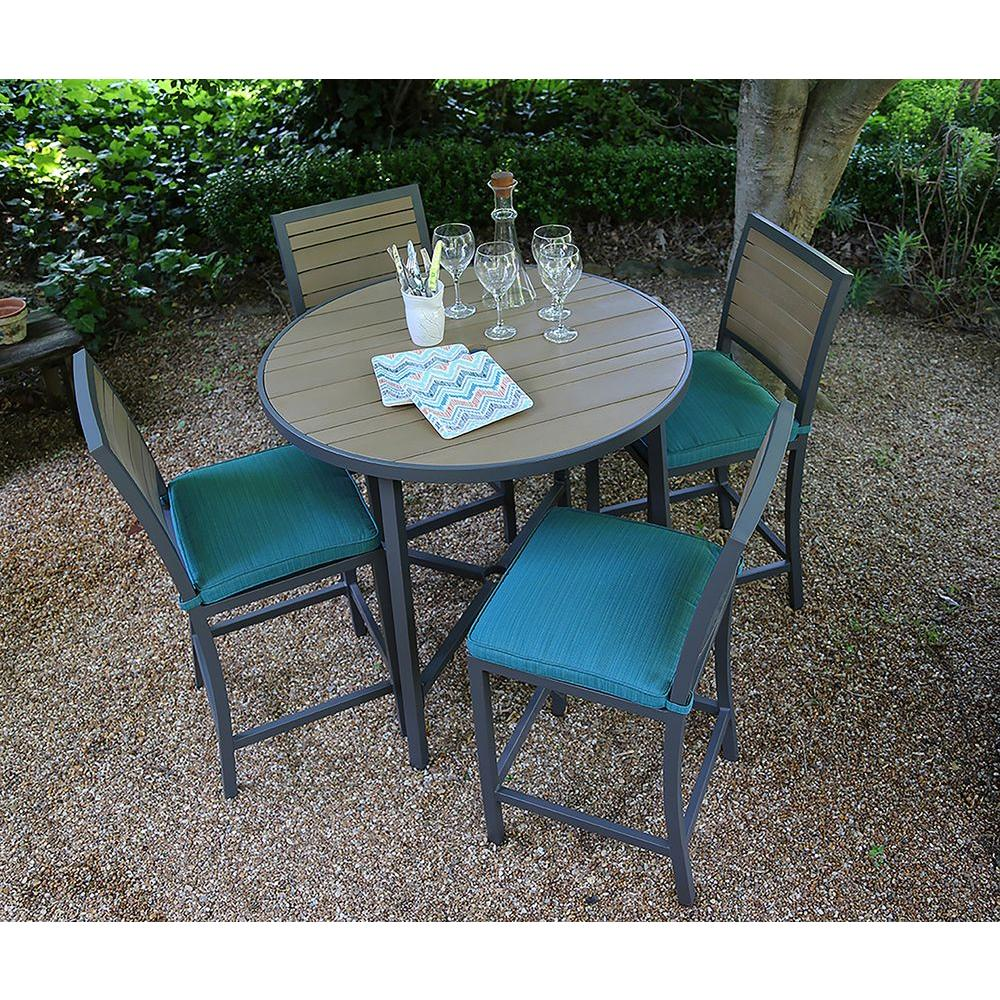 AE Outdoor Woodbridge 5-Piece All-Weather Wicker Patio Bar Height Dining Set