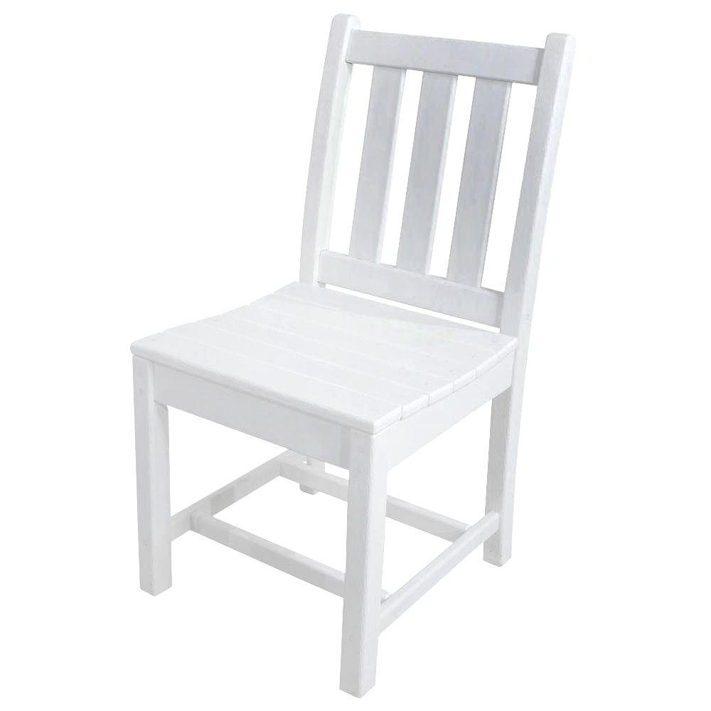POLYWOOD Traditional Garden White Patio Dining Side Chair