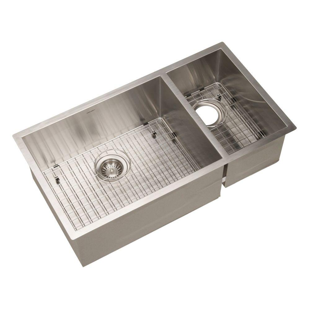 Contempo Series Undermount 33 in. 0-Hole Double Basin Kitchen Sink in