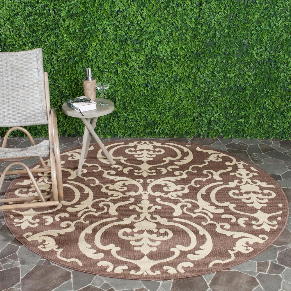 Outdoor Rug 7 X 10: Safavieh Courtyard Chocolate/Natural 7 Ft. 10 In. X 7 Ft
