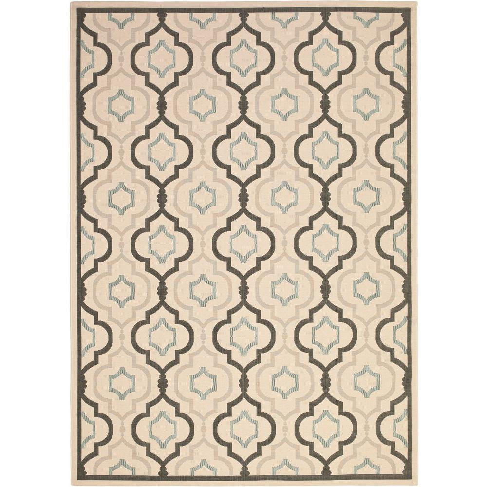 Safavieh Courtyard Beige/Black 6 ft. 7 in. x 9 ft. 6 in. Indoor/Outdoor Area Rug