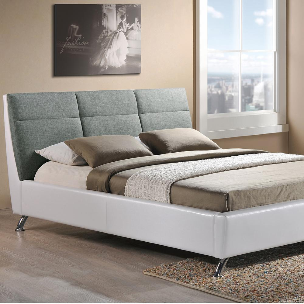 Bruno Gray and White Queen Upholstered Bed