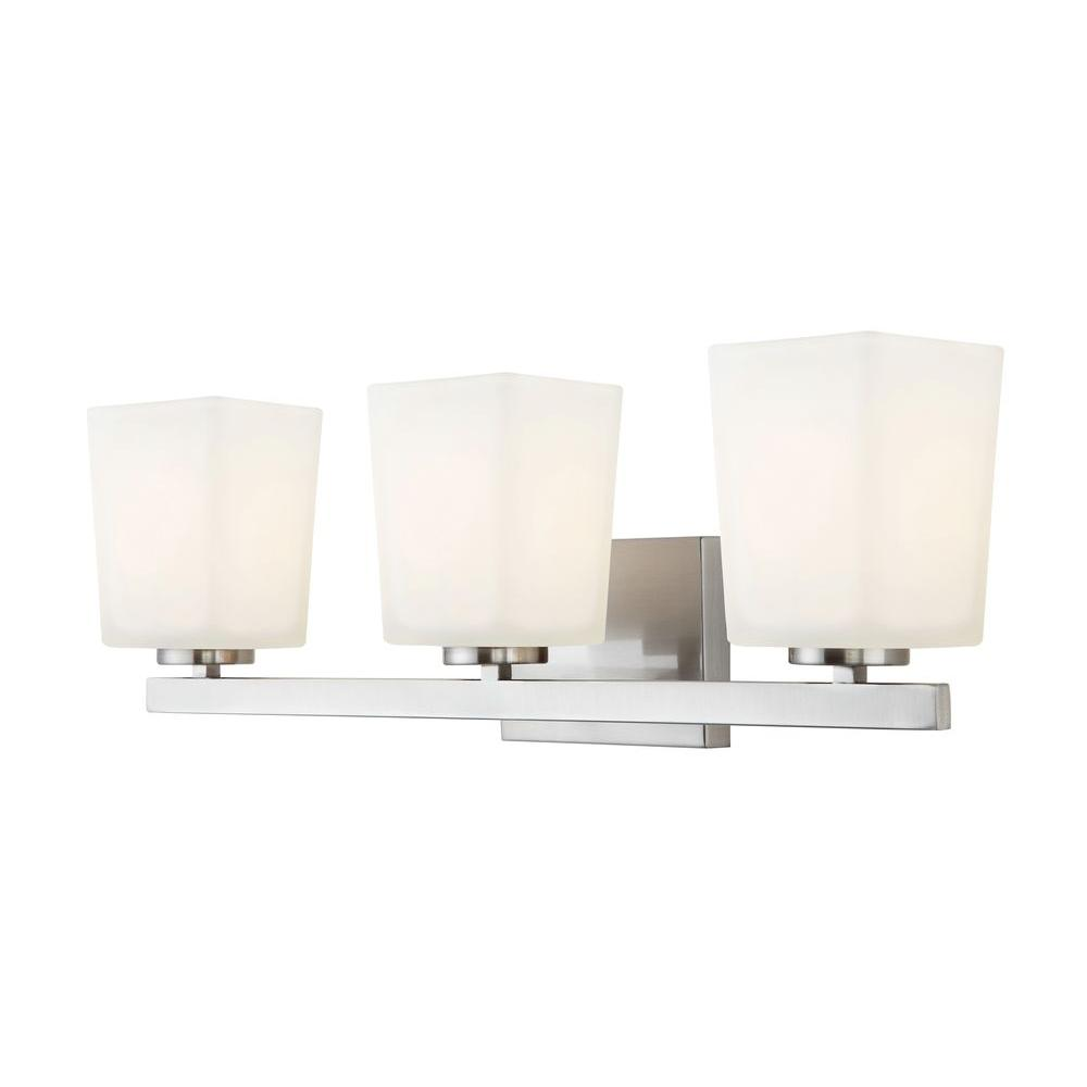 CANARM Hartley 3-Light Brushed Nickel Vanity Light with Flat Opal Glass
