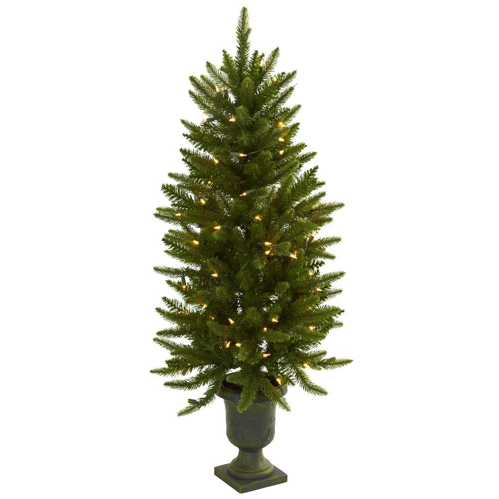 Nearly Natural 4 ft. Artificial Christmas Tree with Urn a...