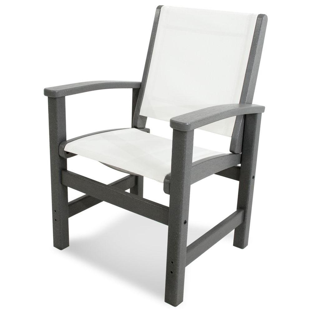 Coastal Slate Grey Patio Dining Chair with White Sling