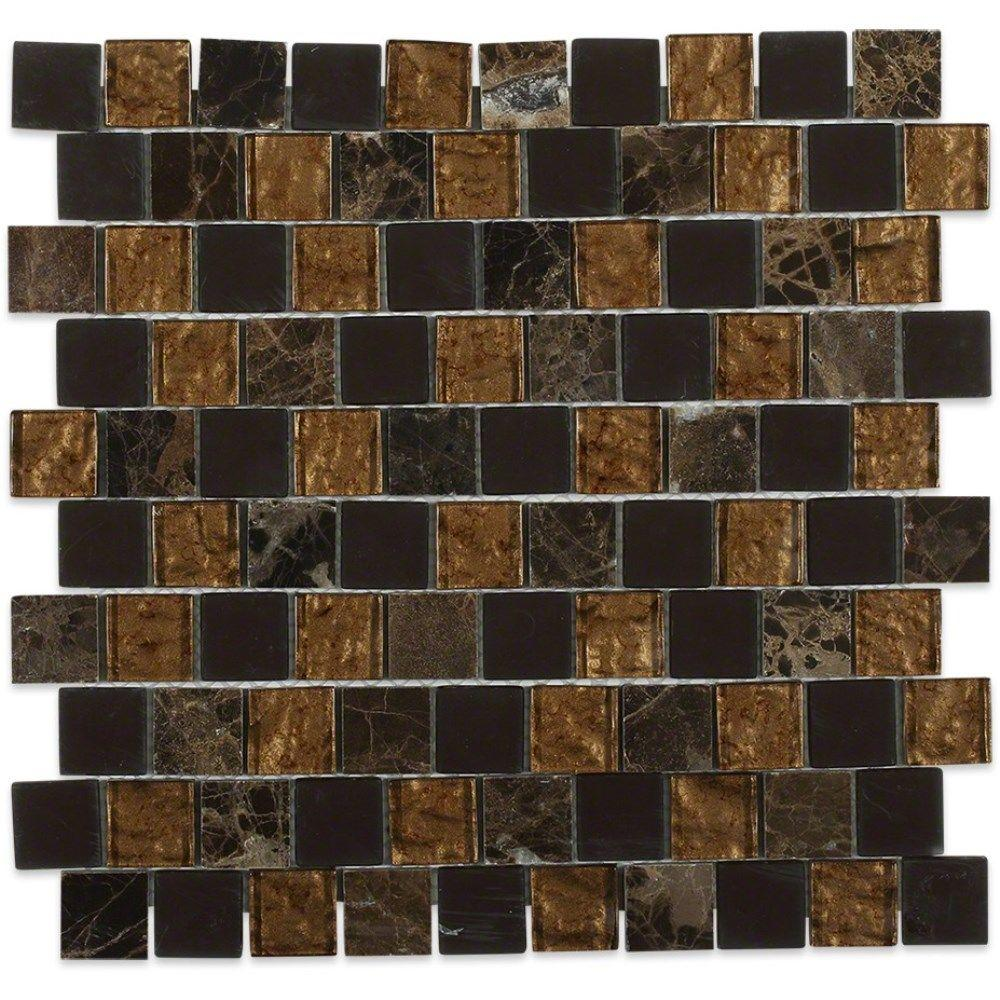 Inheritance Brown Terra Marble and Glass Mosaic Wall Tile - 3