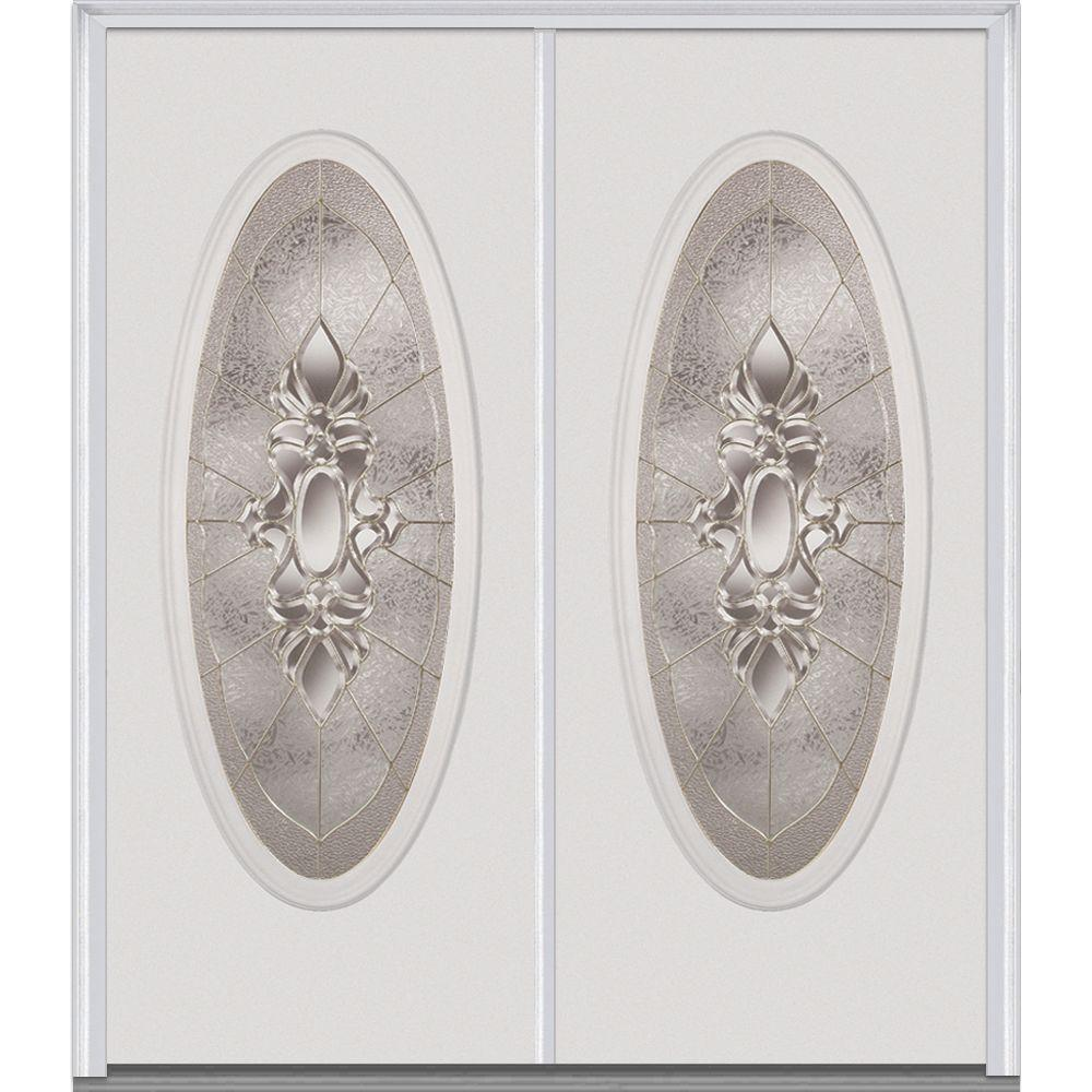 Milliken Millwork 74 in. x 81.75 in. Heirloom Master Decorative Glass Full Oval Lite Painted Majestic Steel Exterior Double Door, Brilliant White