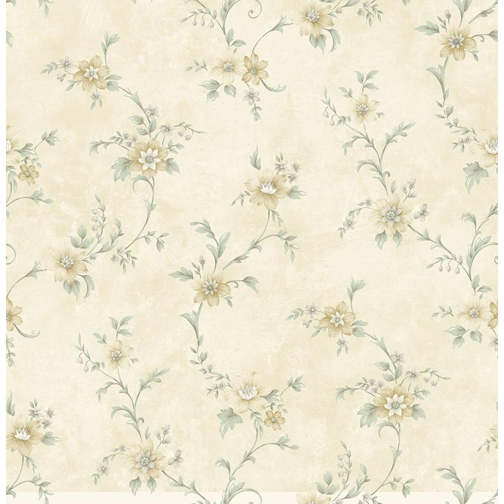 York Wallcoverings Floral Scroll Trail Wallpaper Cg5641