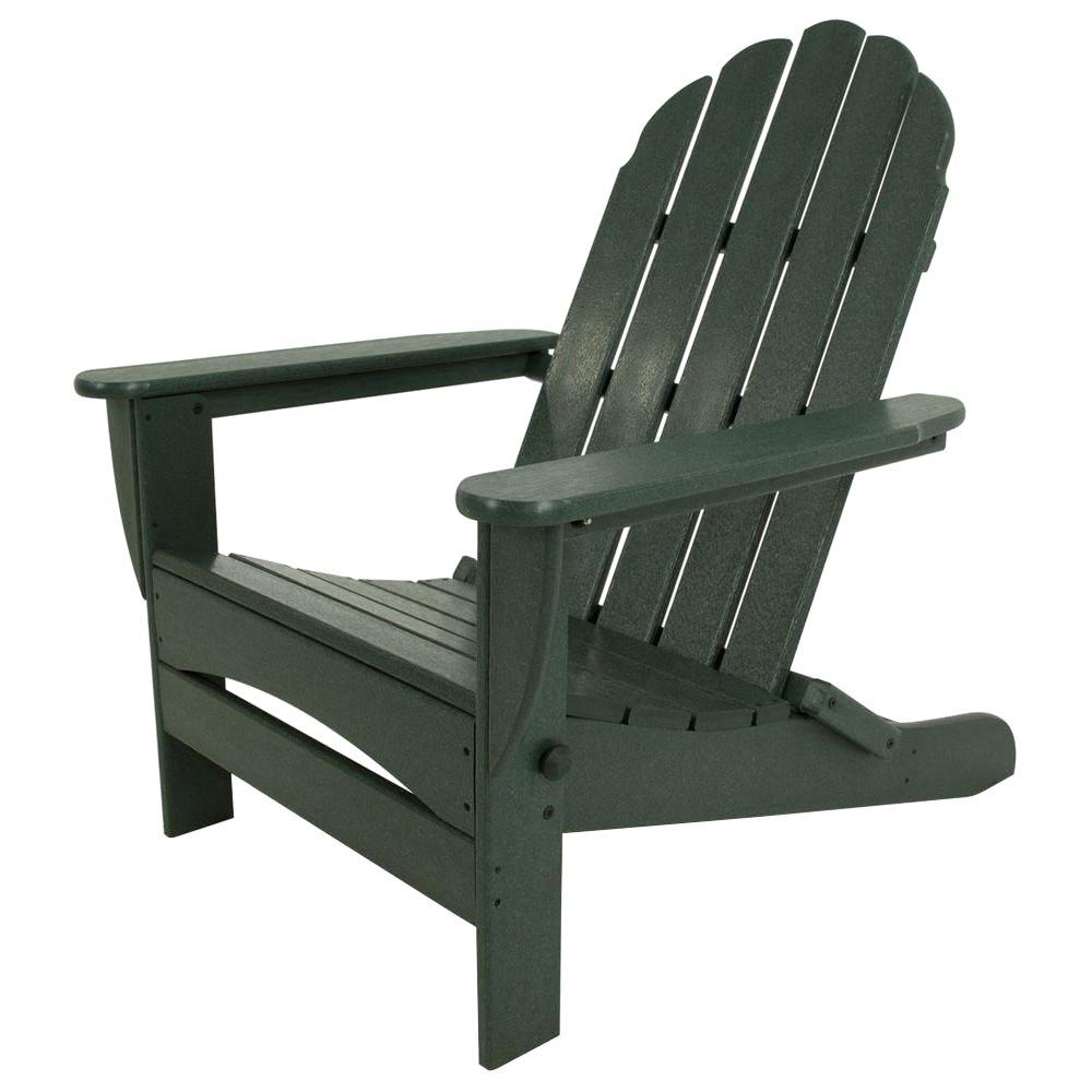 POLYWOOD Classic Green Oversized Curveback Patio Adirondack Chair-AD7030GR - The