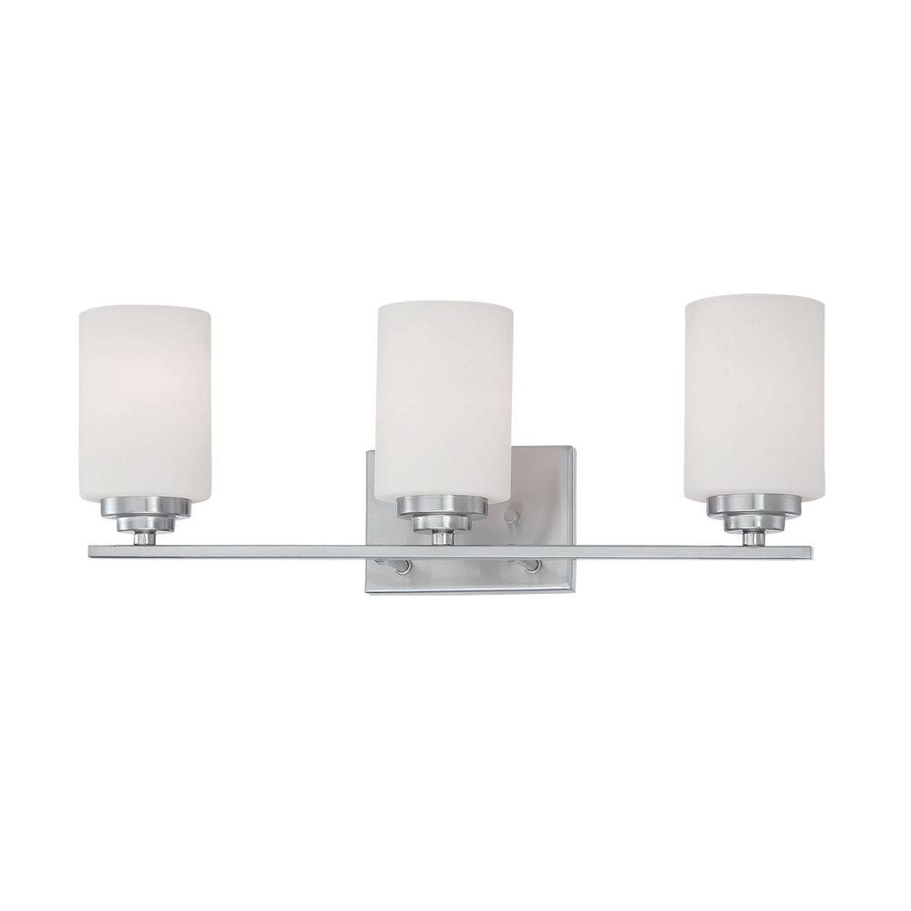 Millennium Lighting 3-Light Satin Nickel Vanity Light with Etched White