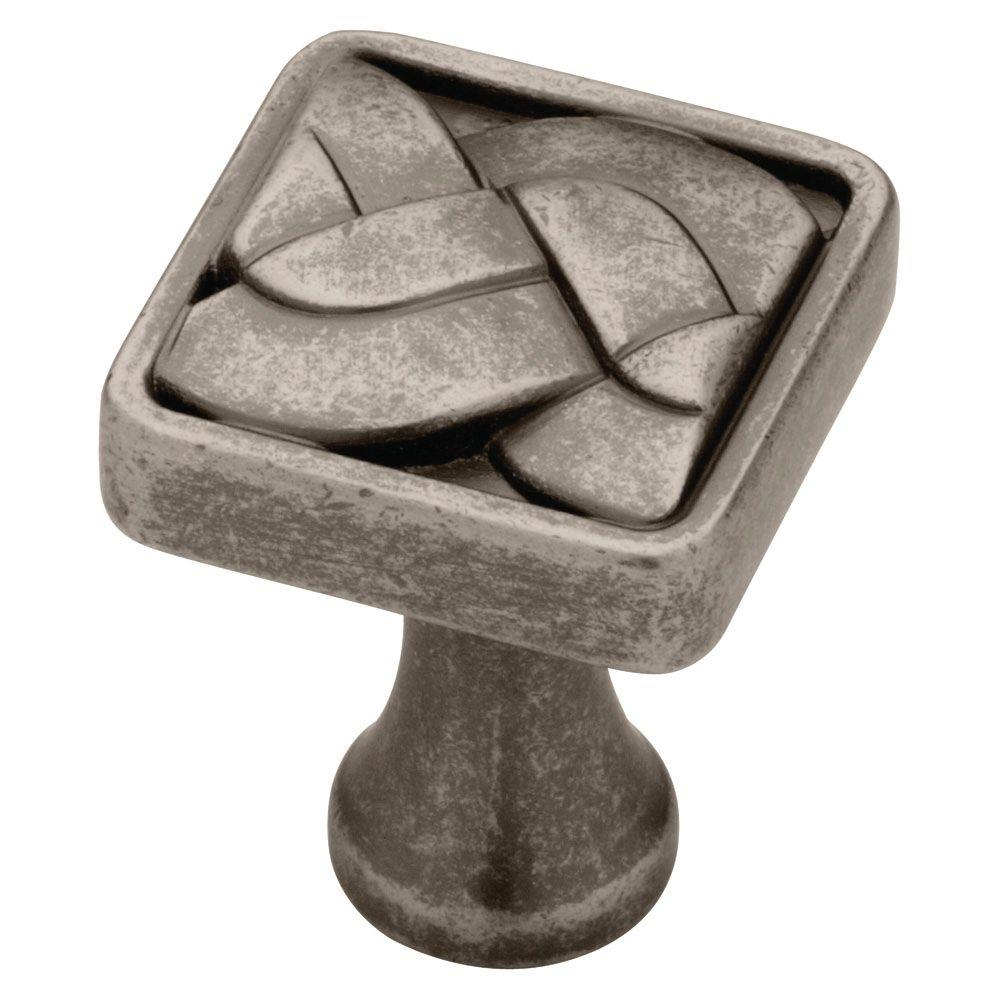 Liberty 1 in. Aged Pewter Weave Cabinet Knob