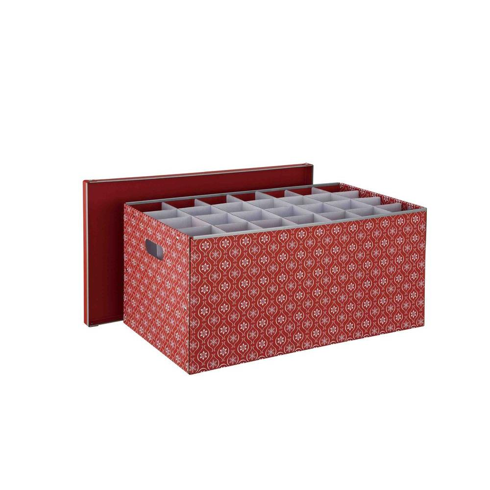 Holiday Cardboard 56-Compartment Ornament Storage Box