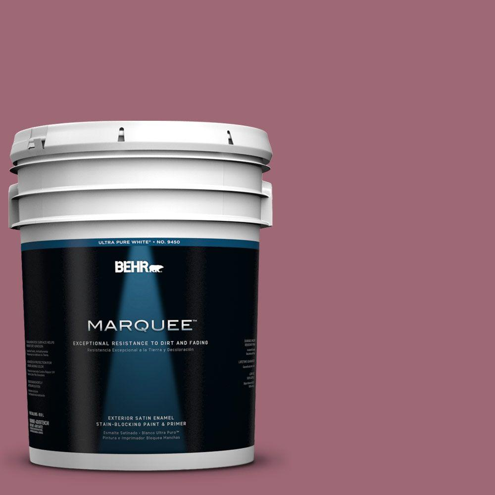 BEHR MARQUEE 5-gal. #100D-5 Berries and Cream Satin Enamel Exterior Paint-945305
