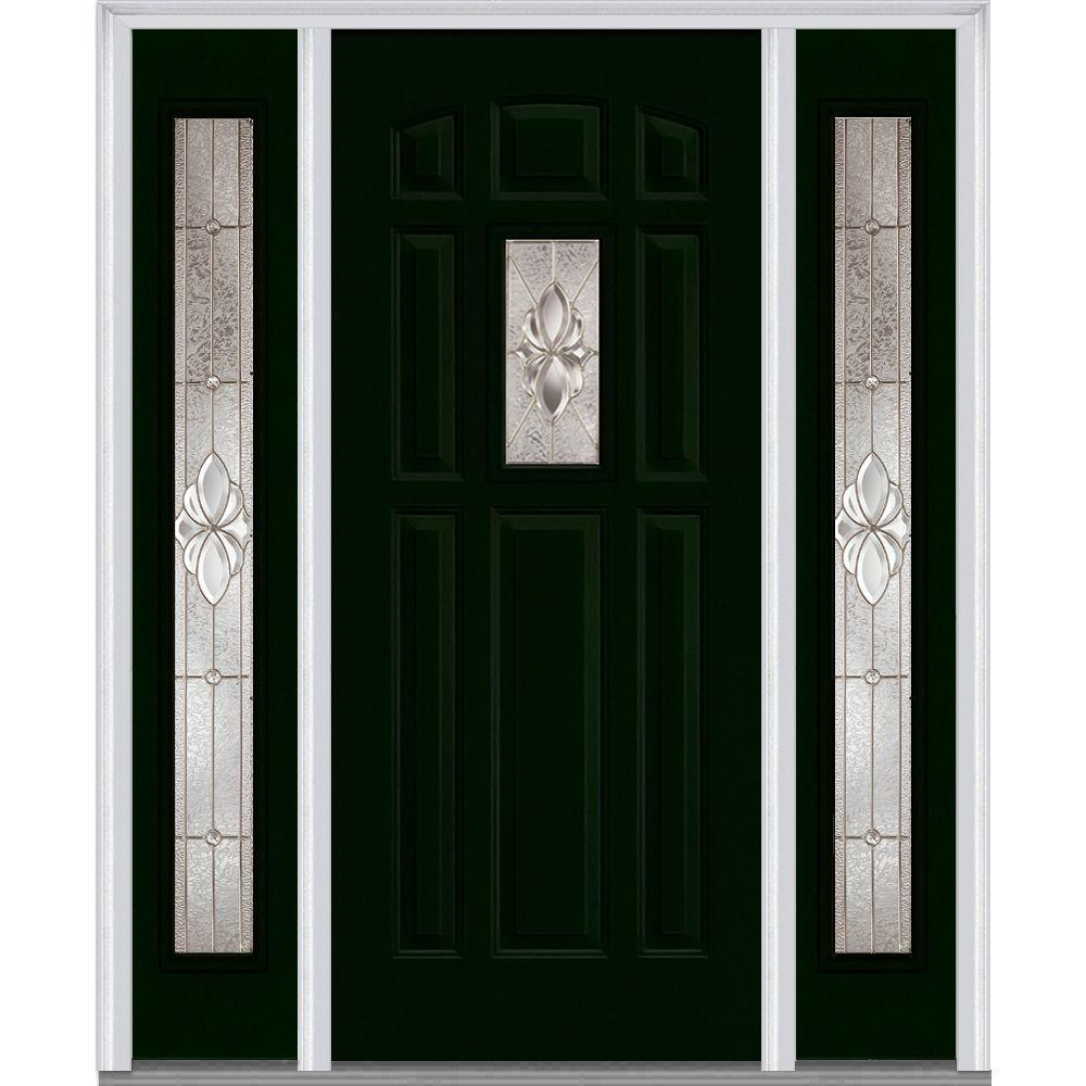 60 in. x 80 in. Heirloom Master Decorative Glass 1/4 Lite Painted Fiberglass Smooth Prehung Front Door with Sidelites, Hunter Green