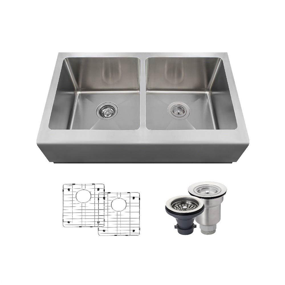 All-in-One Farmhouse Apron Front Stainless Steel 33 in. Double Bowl Kitchen