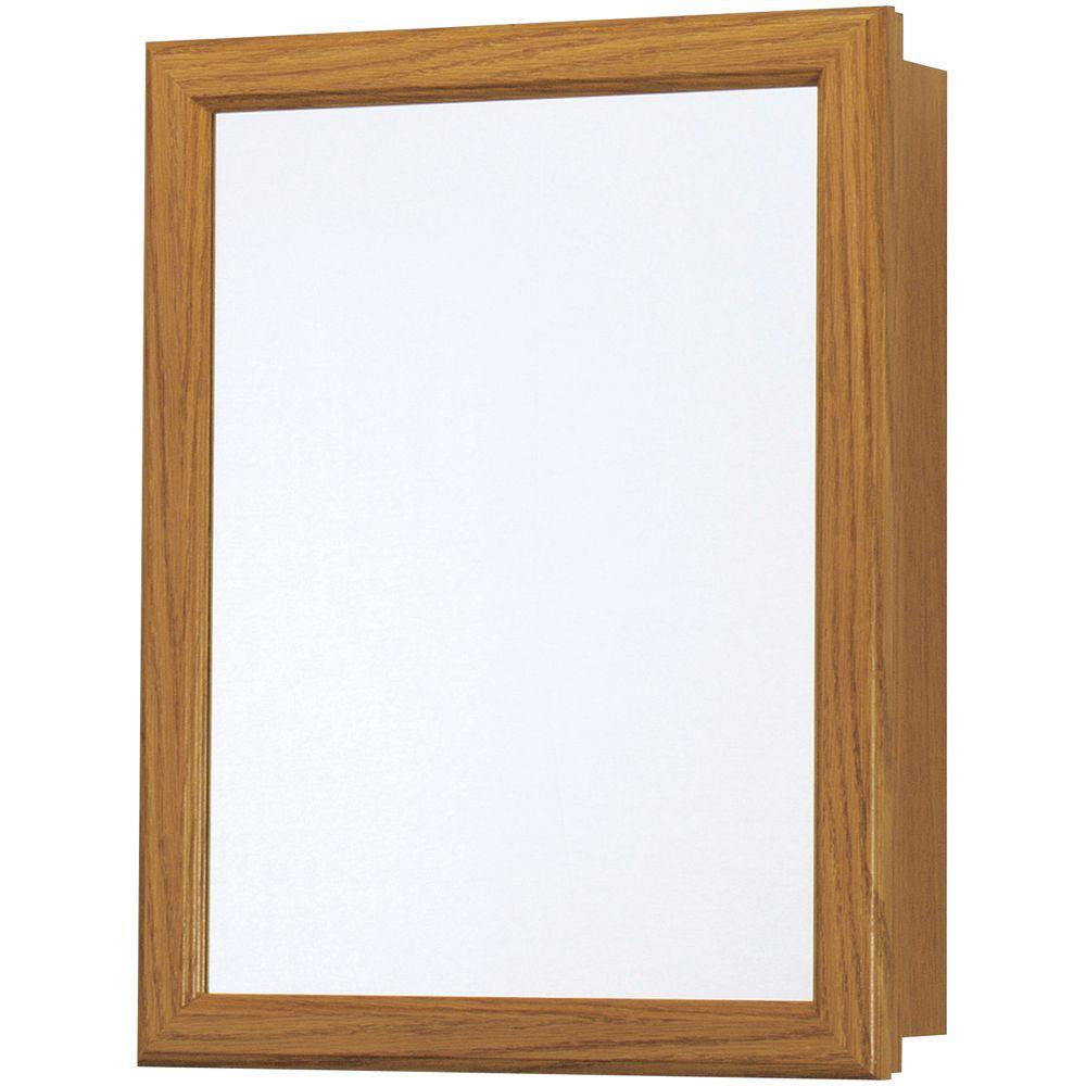 Glacier Bay 15-1/4 in. W x 19-1/4 in. H x 5 in. D Framed Recessed or Surface-Mount Bathroom Medicine Cabinet in Oak
