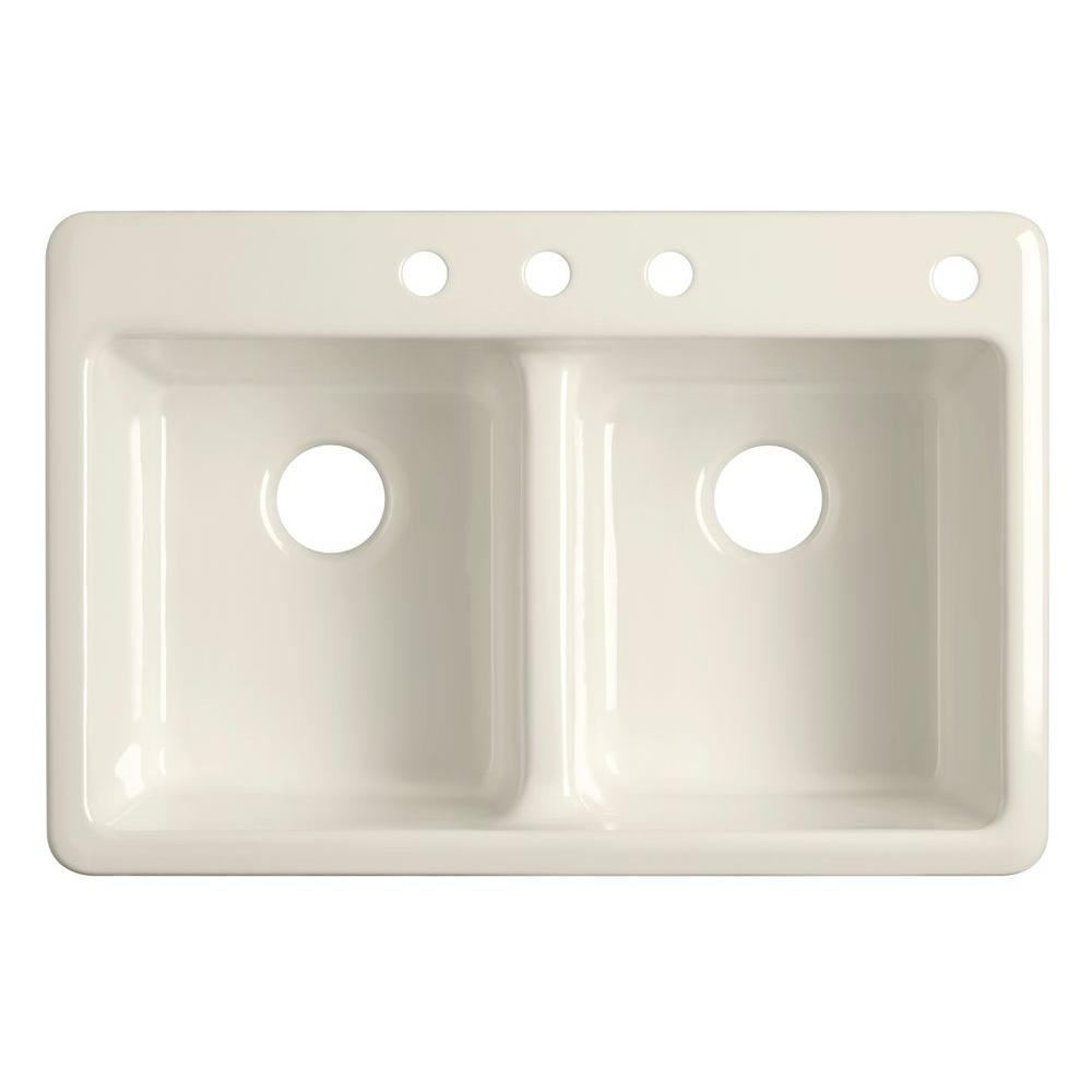 KOHLER Anthem Self-Rimming Cast-Iron 33x22x9.75 4-Hole Kitchen Sink in White-DISCONTINUED