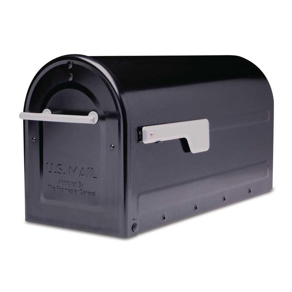 Boulder Post Mount Mailbox Black with Premium Silver Handle and Silver