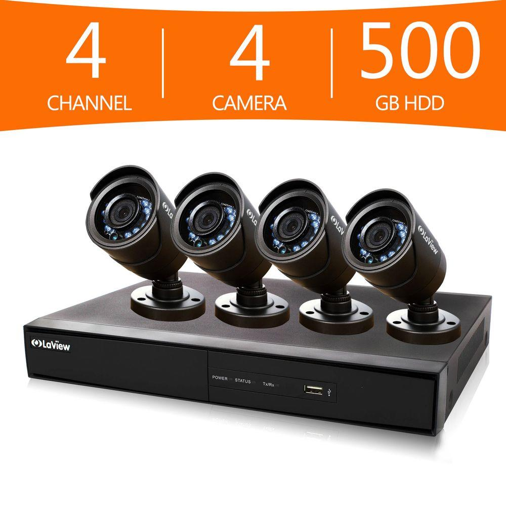 LaView 4-Channel 960H Surveillance System with 500GB Hard Drive and (4) 600 TVL Cameras