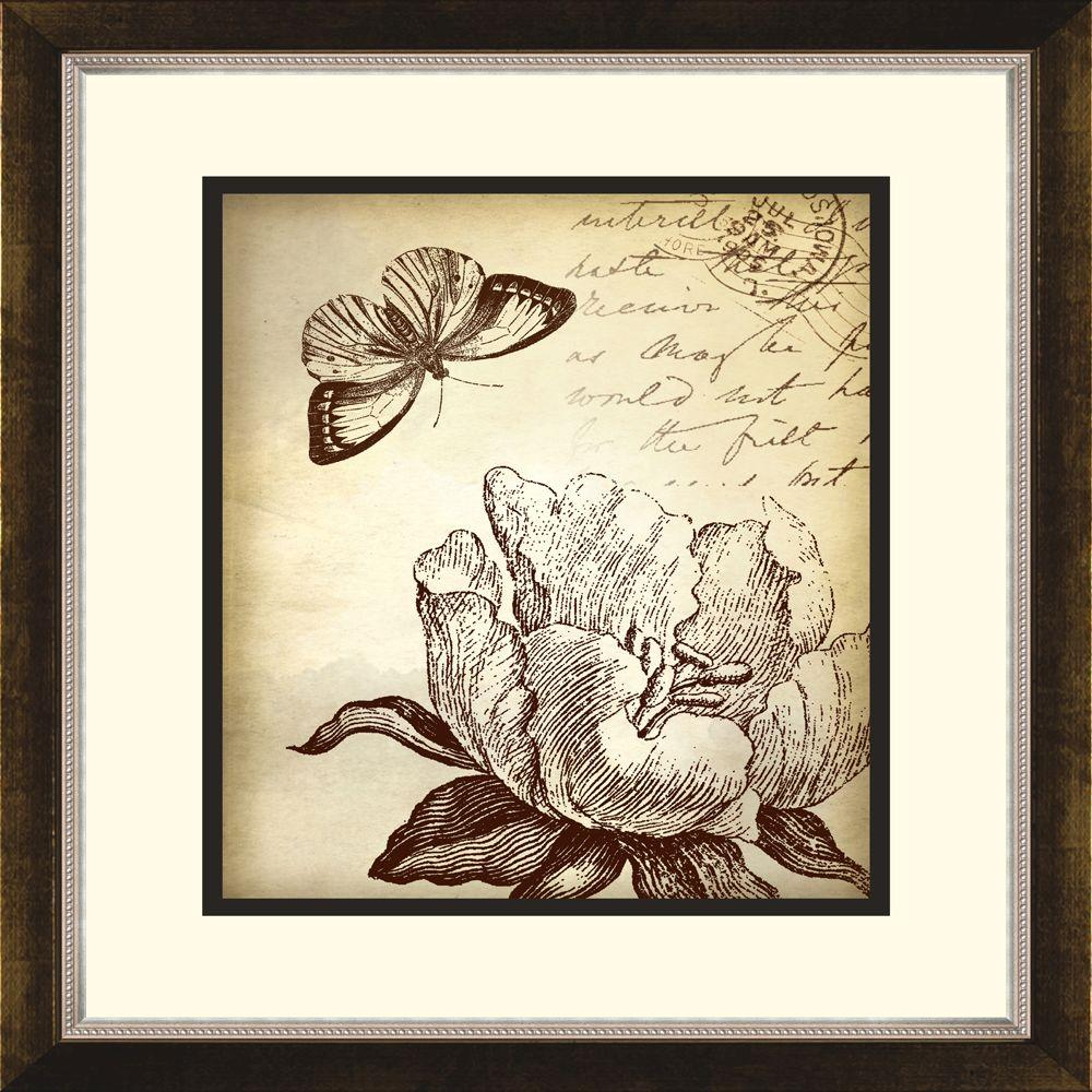 "14.5 in. x 16.5 in. ""Botanical Butterfly A"" Framed Wall Art"