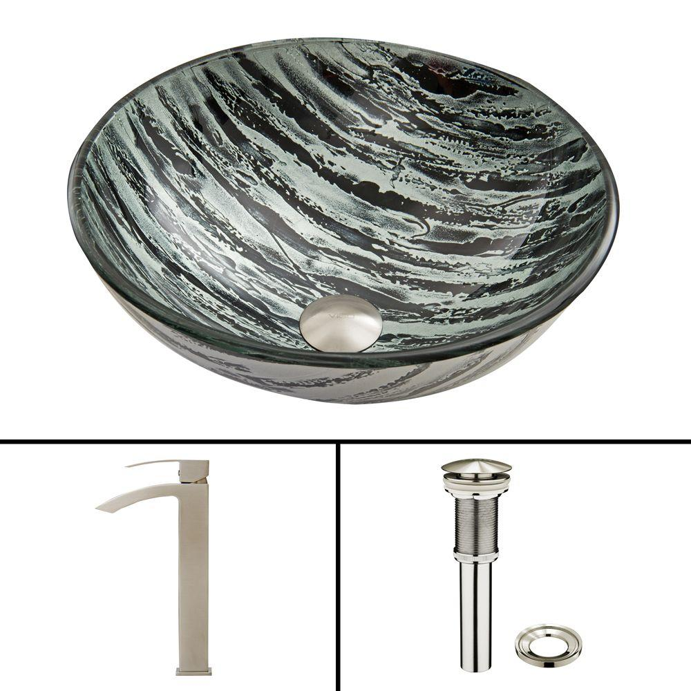 Glass Vessel Sink in Rising Moon and Duris Faucet Set in