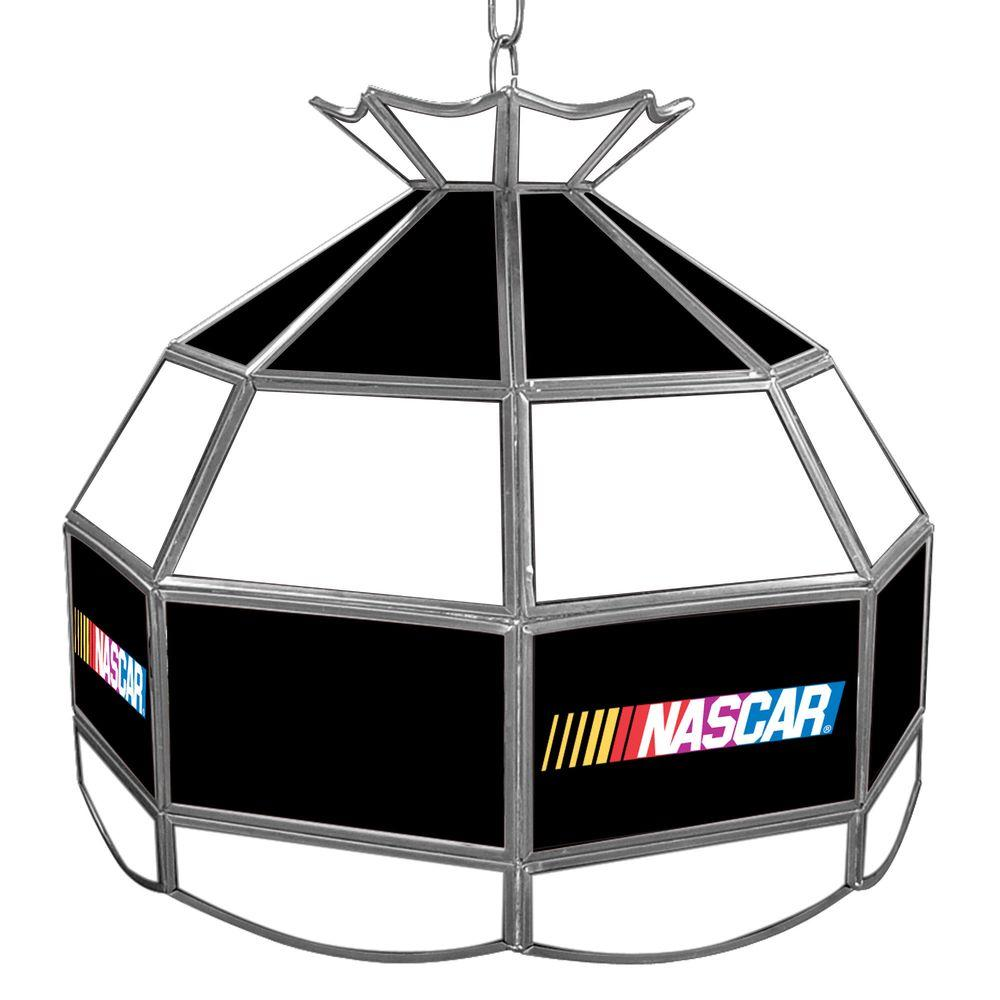 NASCAR 16 in. Gold Hanging Tiffany Style Lamp
