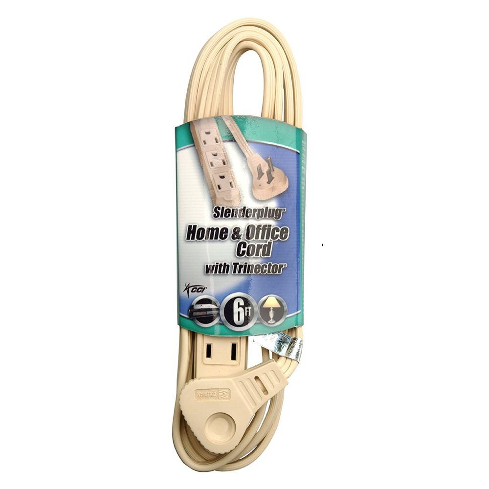 6 ft. Flat Plug Thin Profile 3-Prong Extension Cord, Beige