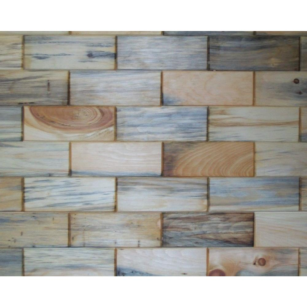 Rustix Woodbrix 3 in. x 8 in. Unfinished Antique Blend North Eastern White Pine Wooden Wall Tile