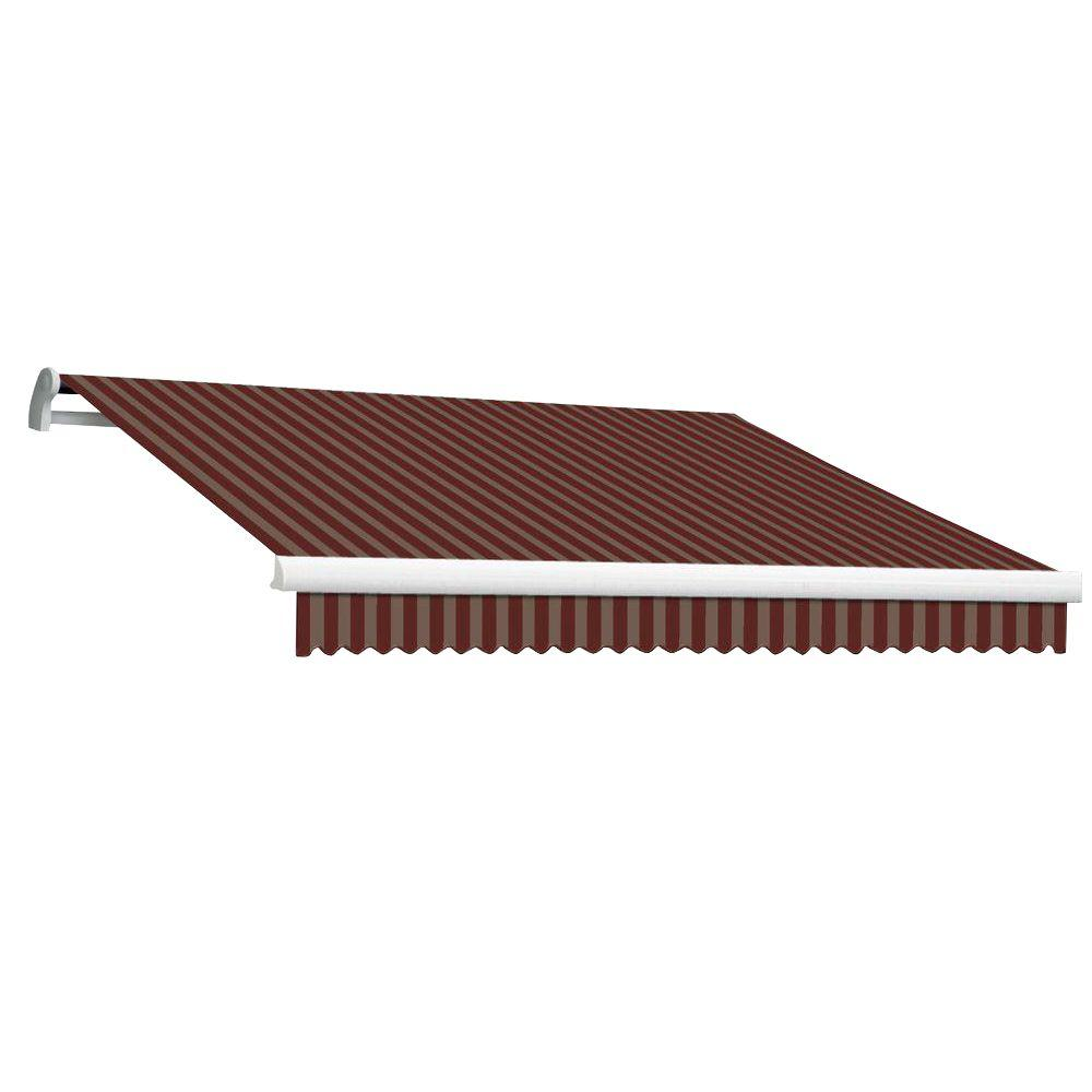 Beauty-Mark 12 ft. MAUI EX Model Left Motor Retractable Awning (120 in. Projection) in Burgundy and Tan Stripe