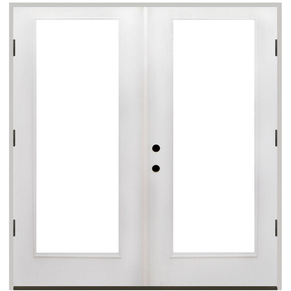 56 in. x 80 in. Primed White Fiberglass Prehung Left-Hand Outswing