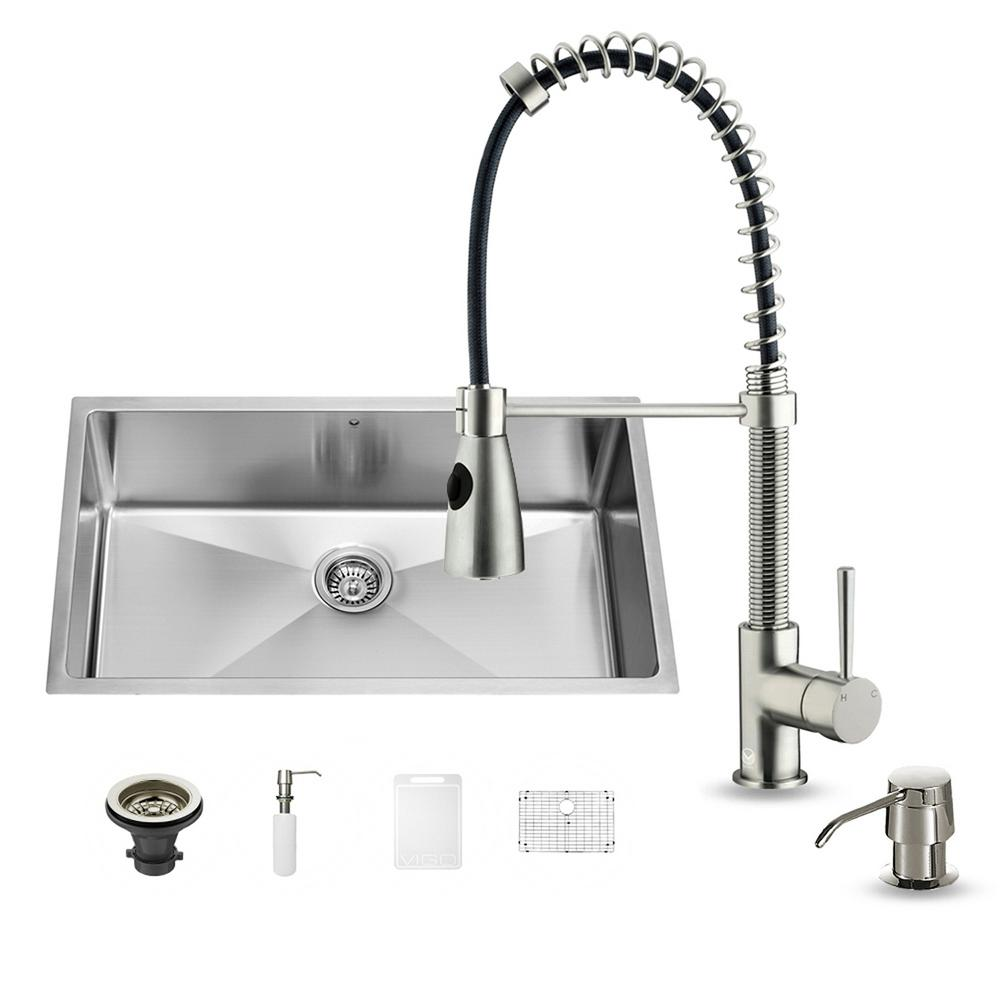 VIGO All-in-One Undermount Stainless Steel 32 in. 0-Hole Single Basin Kitchen Sink in Stainless Steel