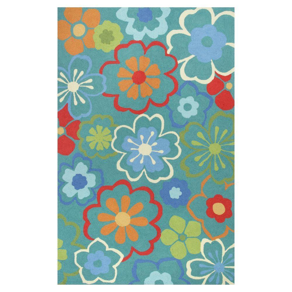 Kas Rugs Flowers at Play Blue/Red 7 ft. 6 in. x