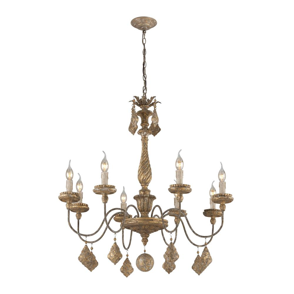 Calais 8-Light Antique French Gold Chandelier