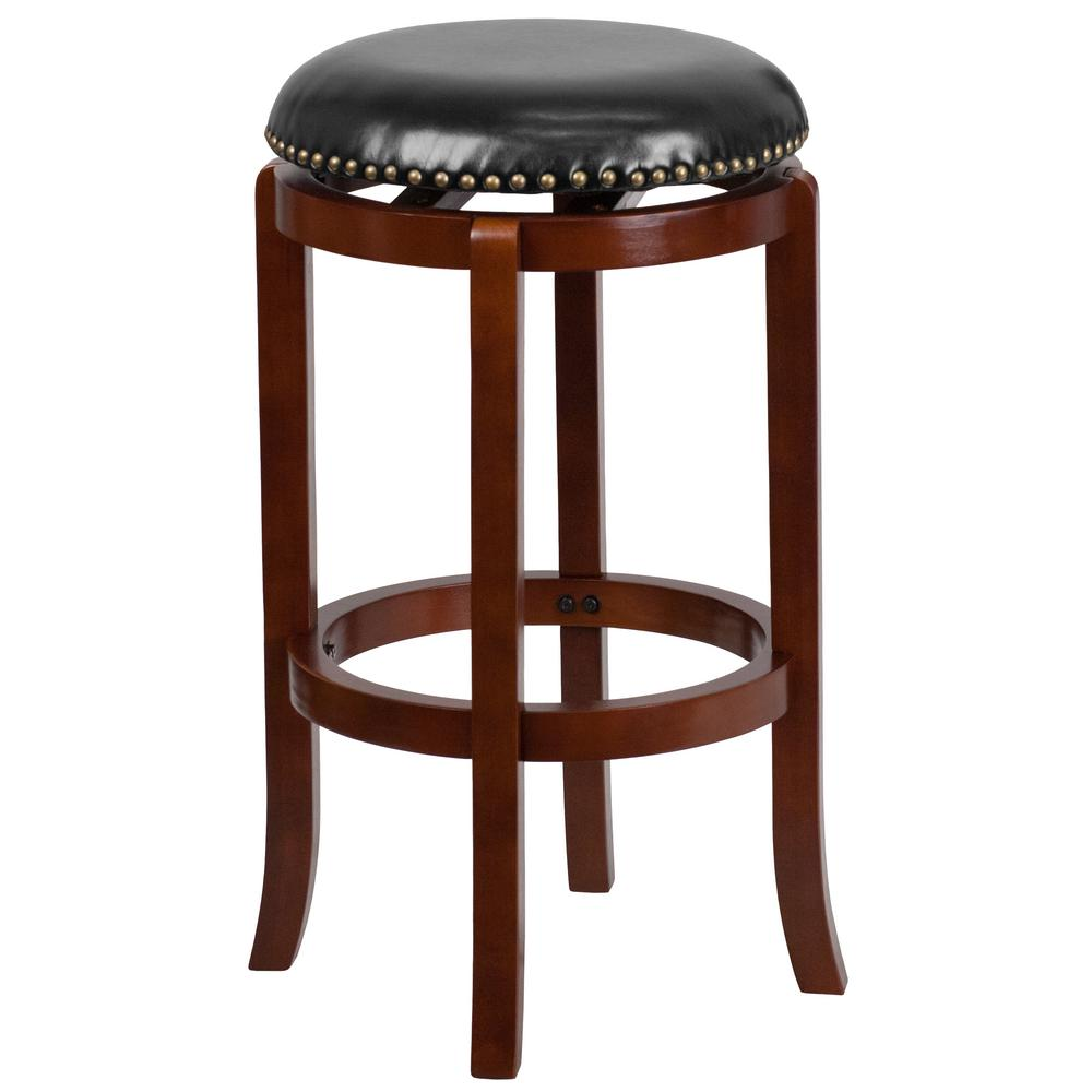 Flash furniture 30 in light cherry swivel cushioned bar stool ta68929lc the home depot Home depot wood bar stools